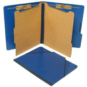 SJ Paper Classification Folio - Letter - 8.5&quot; x 11&quot; - 2 Divider - 2.25&quot; Expansion - 2&quot; Capacity - 10 / Box - 25pt. - Pacific Blue