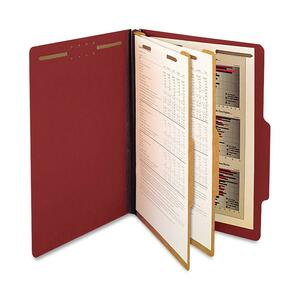 "SJ Paper Recycled 2-Dividers Classification Folder - Legal - 8.5"" x 14"" - 2 Divider - 6 Fastener - 2"" Capacity - 15 / Box - 25pt. - Red"