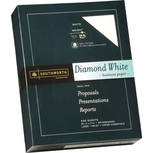 "Southworth Diamond White Business Paper - Letter - 8.5"" x 11"" - 24lb - Wove - 500 / Box - Bright White"