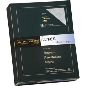 "Southworth Linen Business Paper - Letter - 8.5"" x 11"" - 24lb - Linen - 500 / Box - Gray"