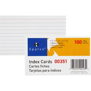 "Sparco Ruled Index Card - 3"" x 5"" - 75lb - 100 / Pack - White"