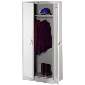 "Tennsco Full-Height Deluxe Wardrobe Cabinet - 36"" x 18"" x 78"" - Steel - Security Lock, Leveling Glide - Light Gray"