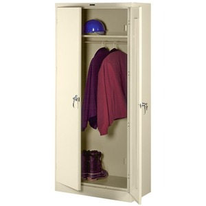 "Tennsco Full-Height Deluxe Wardrobe Cabinet - 36"" x 18"" x 78"" - Steel - Security Lock, Leveling Glide - Putty"