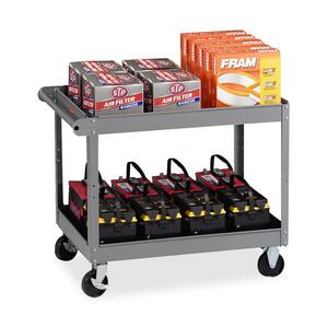 "Tennsco Two Shelf Service Cart - 2 Shelf - 500 lb Capacity - 4 - Metal - 32"" x 24"" x 36"" - Medium Gray"
