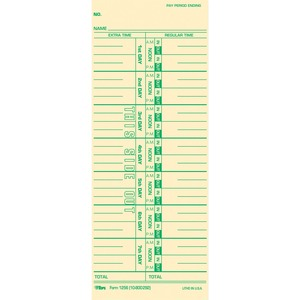 "Tops Weekly Time Card - 9"" x 3.5"" Sheet Size - Manila - 100 / Pack"