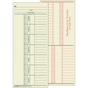 "Tops 2-Sided Weekly Time Card - 8.25"" x 3.37"" Sheet Size - Manila - 500 / Box"