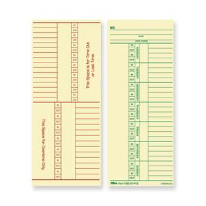 "Tops Named Days/Overtime Time Card - 8.25"" x 3.37"" Sheet Size - Manila - 100 / Pack"