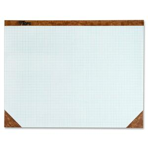 "Tops Quadrille Desk Pads - 22"" Width x 17"" Depth - 50 Sheets - Chipboard Backing - Paper - White"