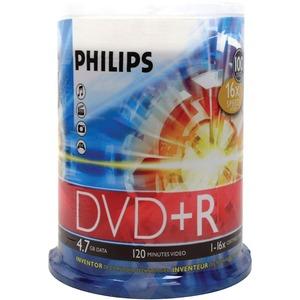 PHILIPS - BATT AND MEDIA 100PK DVDR 16X 4.7GB 120MIN CAKE BOX