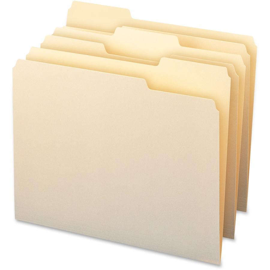 Smead WaterShed?/CutLess? File Folder, 1/3-Cut Tab, Letter Size, Manila, 100 Per Box (10343)