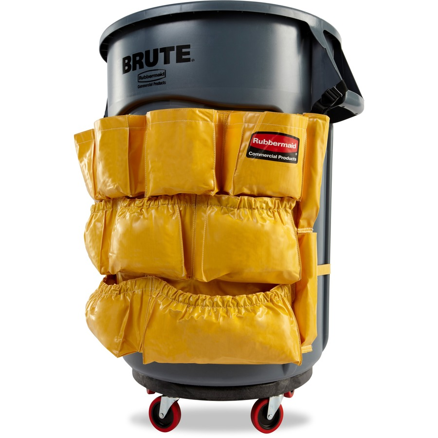 Rubbermaid Commercial Round Container Caddy Bag 12 Pockets 6 CT Yellow