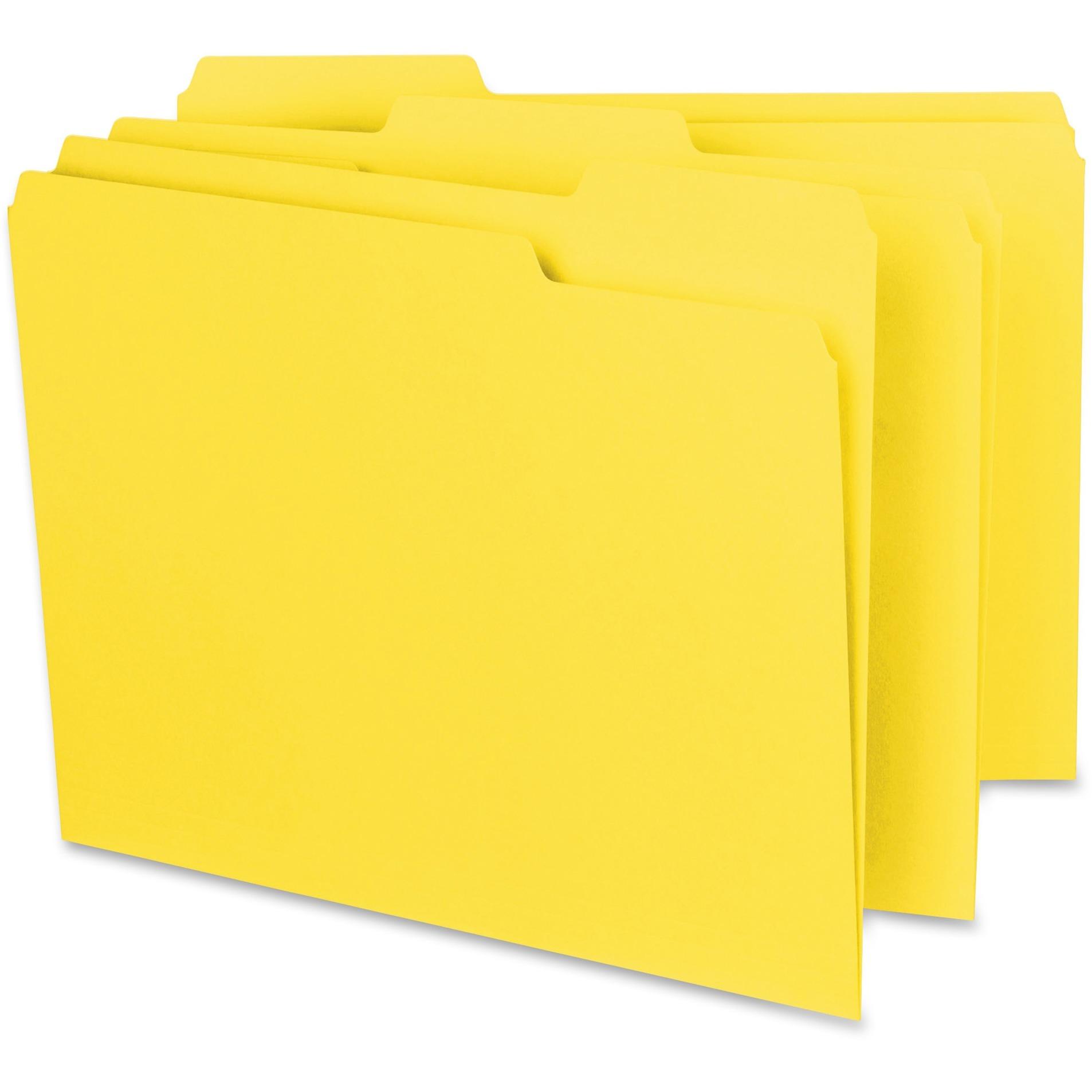 Smead Interior File Folder, 1/3-Cut Tab, Letter Size, Yellow, 100 per Box (10271)