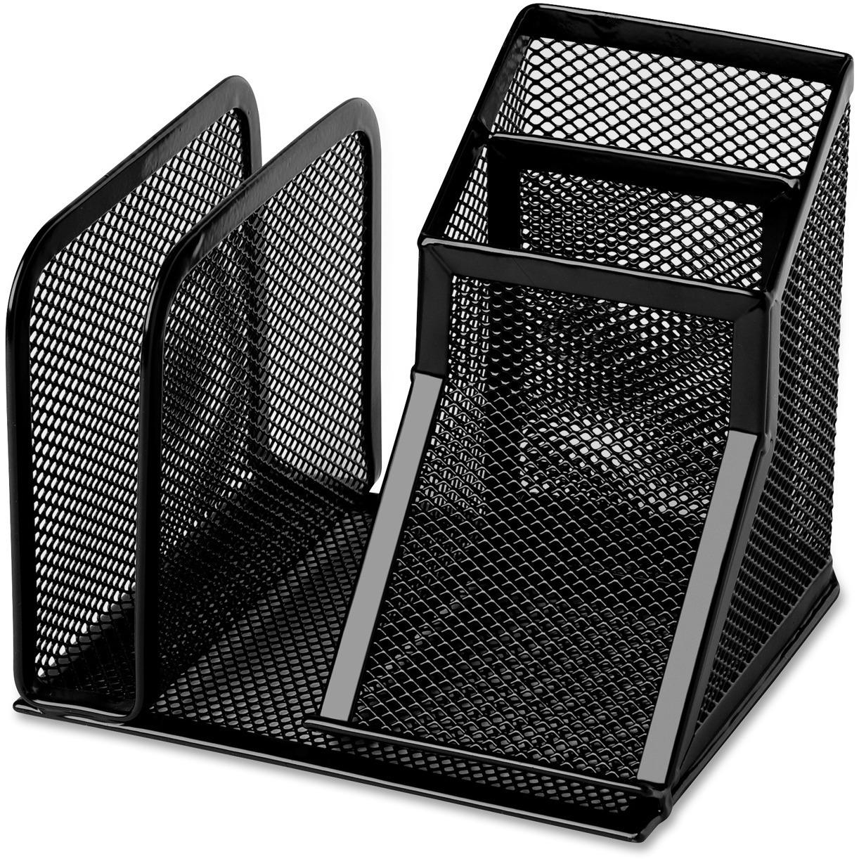 4 Compartment S Desktop Black Steel