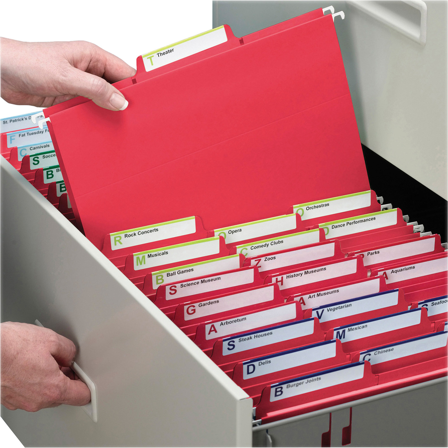 Smead FasTab? Hanging File Folder, 1/3-Cut Built-In Tab, Letter Size, Red, 20 per Box (64096)