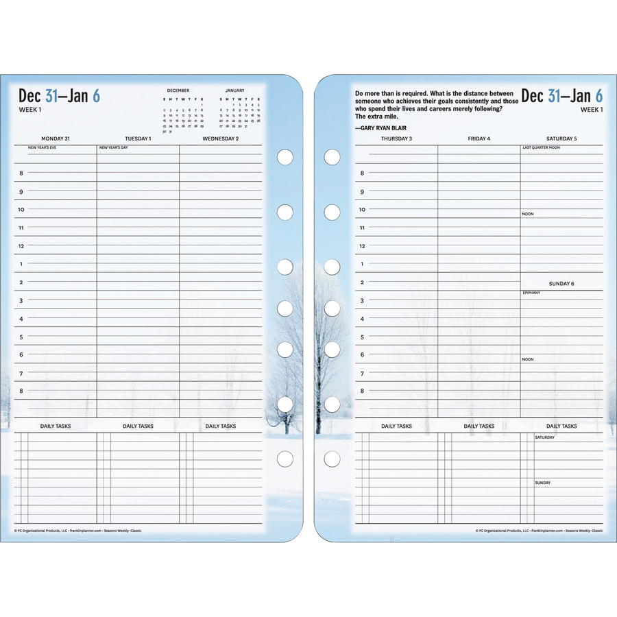 Planner refill features a floral design and ranges 12 months from January to December. Refill includes two-page-per-day spreads, monthly calendar tabs for one year, future planning calendars and additional pages for planning reference and future planning.