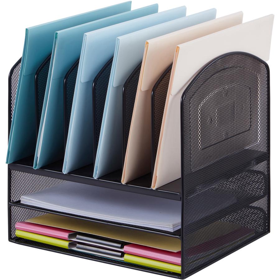 Lorell steel horiz vertical mesh desk organizer servmart - Desk organizer ...