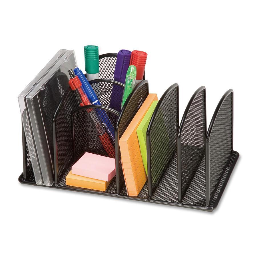 "Lorell Deluxe Mesh Desktop Organizer 3 Compartment(s) - 5.3"" Height x"