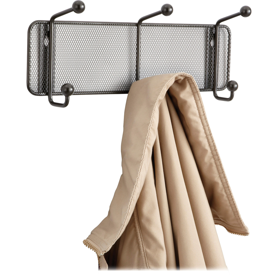 Safco Onyx Mesh Sturdy 3-Hook Garment Wall Rack