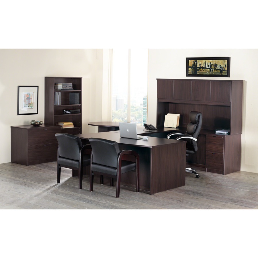 llr79007 - lorell prominence 79000 series espresso pedestal desk