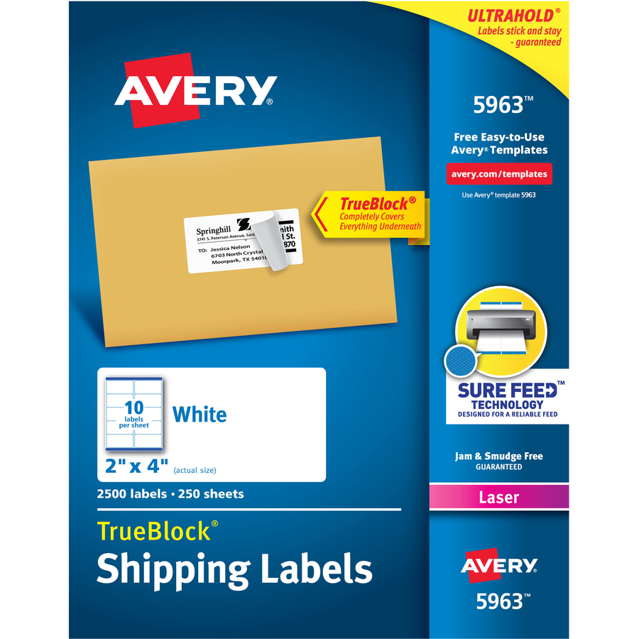 Avery Shipping Labels With Trueblock Technology Servmart