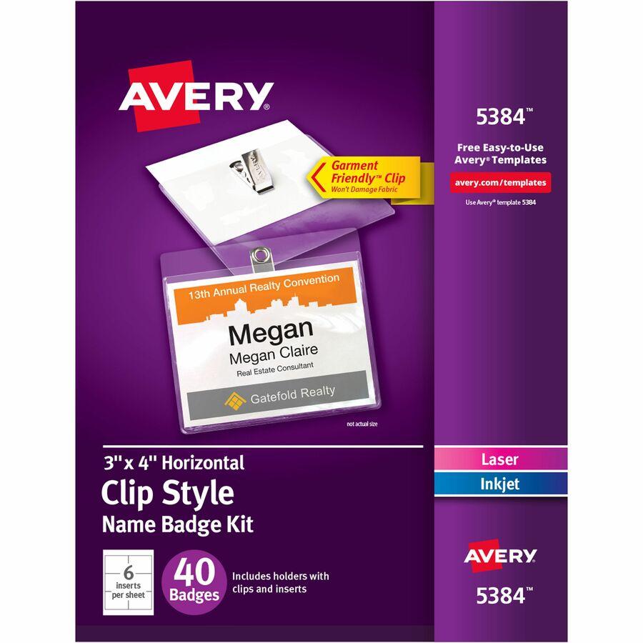Avery Laser Inkjet Print Laserinkjet Badge Insert Servmart