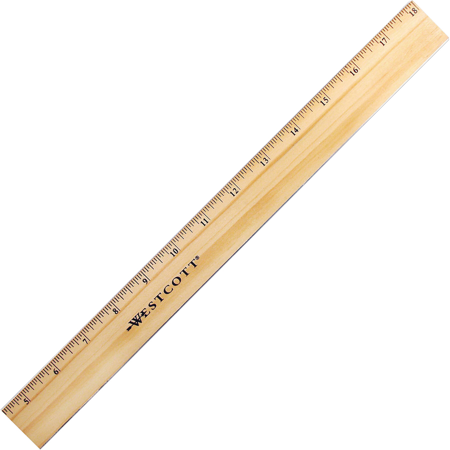 Image for Acme United Corporation Westcott Beveled Metal Edge Wood Rulers - 18 Length 1 Width - 1/16 Graduations - Imperial Measuring System - Wood - 1 Each - Blue