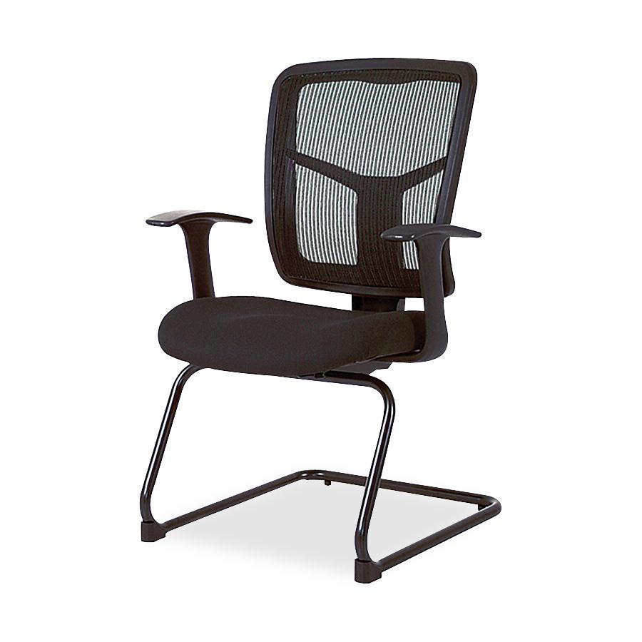 Lorell Ergomesh Series Mesh Side Armband Guest Chair - Fabric Black Seat - Mesh Black Back - Cantilever Base - 27 Width X 27.8 Depth X 41 Height