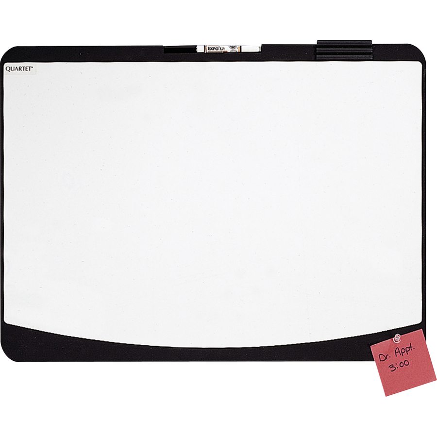 Acco Brands Corporation Quartet® Designer Tack & Write® Cubicle Whiteboard - 23.5 (2 Ft) Width X 17.5 (1.5 Ft) Height - White Melamine Surface - Black Plastic Frame - Rectangle - Wall Mount - 1 Each