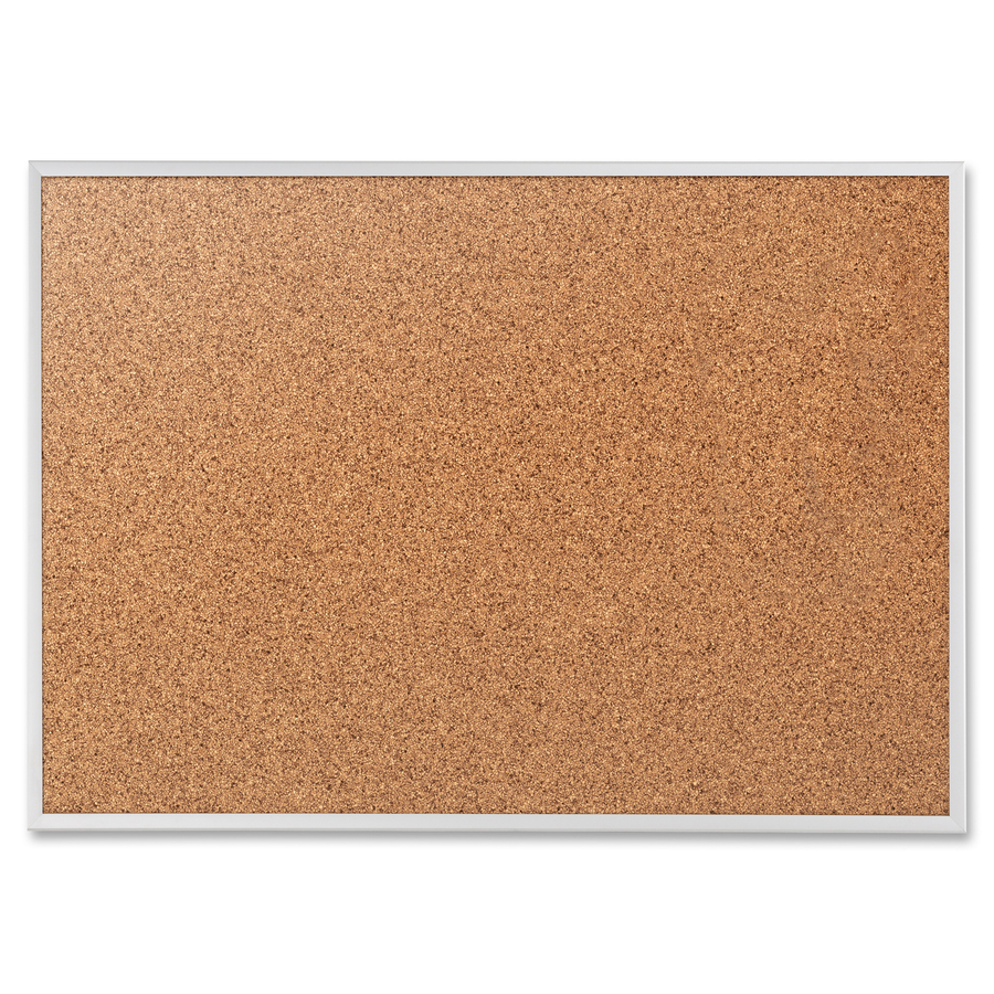 Acco Brands Corporation Quartet® Classic Cork Bulletin Board - 18 Height X 24 Width - Brown Natural Cork Surface - Silver Aluminum Frame - 1 Each