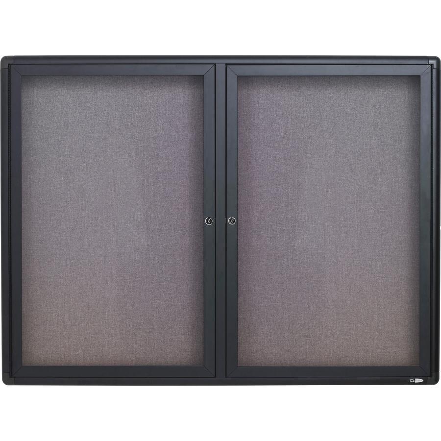 Acco Brands Corporation Quartet® Enclosed Radius Fabric Bulletin Board, 4 X 3, 2 Door, Graphite Frame - 36 Height X 48 Width - Gray Fabric Surface - Graphite Frame - 1 / Each