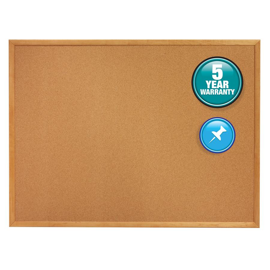 Acco Brands Corporation Quartet® Classic Cork Bulletin Board - 36 Height X 48 Width - Brown Natural Cork Surface - Oak Frame - 1 / Each