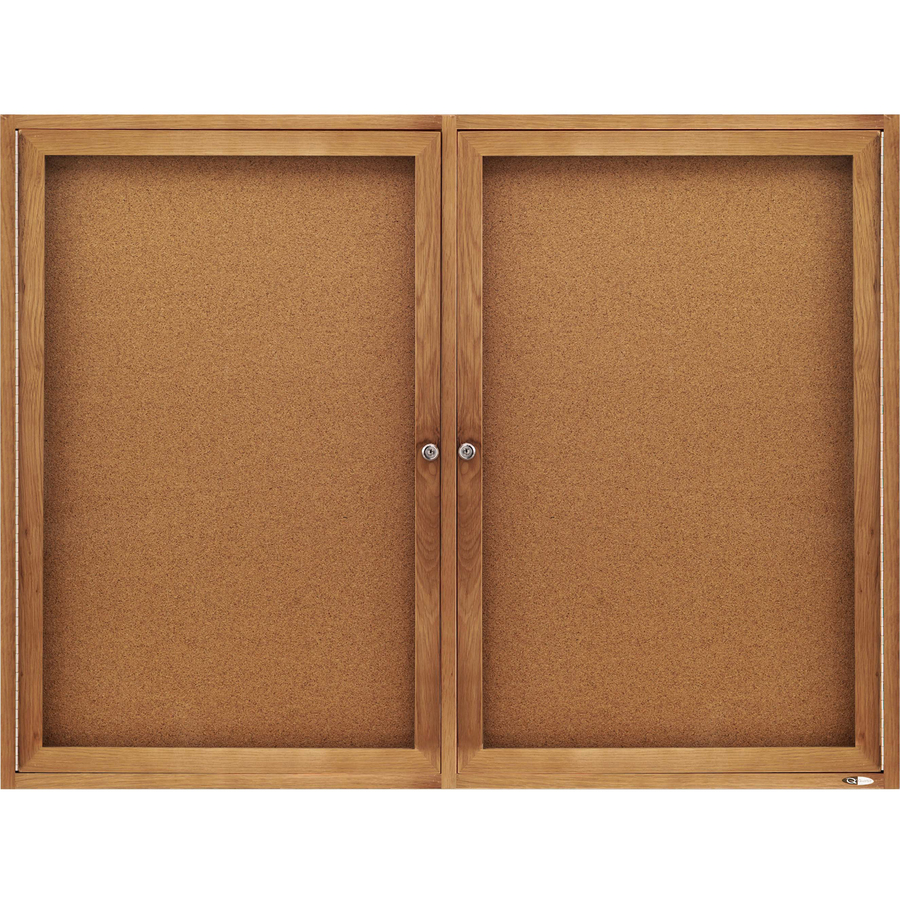 Acco Brands Corporation Quartet® Enclosed Cork Bulletin Board For Indoor Use, 4 X 3, 2 Door, Oak Frame - 36 Height X 48 Width - Brown Natural Cork Surface - Oak Frame - 1 / Each
