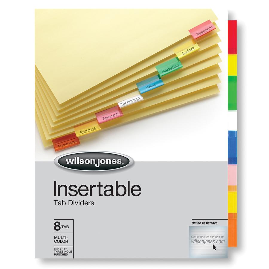 Wilson Jones Insertable Tab Dividers 8 Tab Set Multicolor Tabs