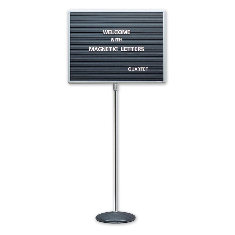 Acco Brands Corporation Quartet® Adjustable Single Pedestal Letter Board, 24 X 18, Magnetic, Aluminum Frame - 18 Height X 24 Width - Solid Black Surface - Gray Aluminum Frame - 1 / Each
