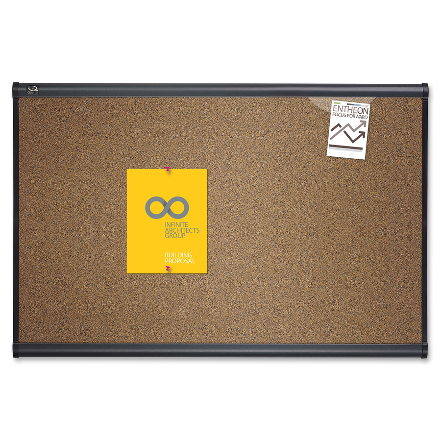 Acco Brands Corporation Quartet® Prestige® Colored Cork Bulletin Board, 3 X 2, Graphite Finish Frame - 24 Height X 36 Width - Brown Cork Surface - Graphite Frame - 1 Each