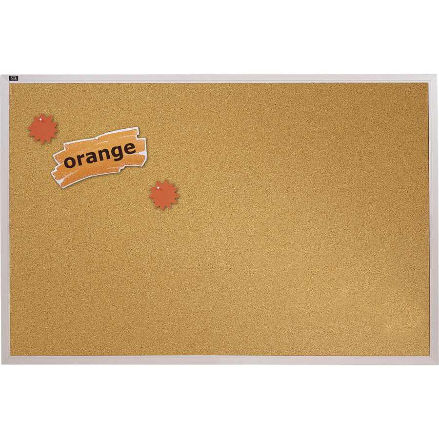 Acco Brands Corporation Quartet® Natural Cork Bulletin Board, 4 X 6, Aluminum Frame - 48 Height X 72 Width - Brown Natural Cork Surface - Silver Aluminum Frame - 1 / Each