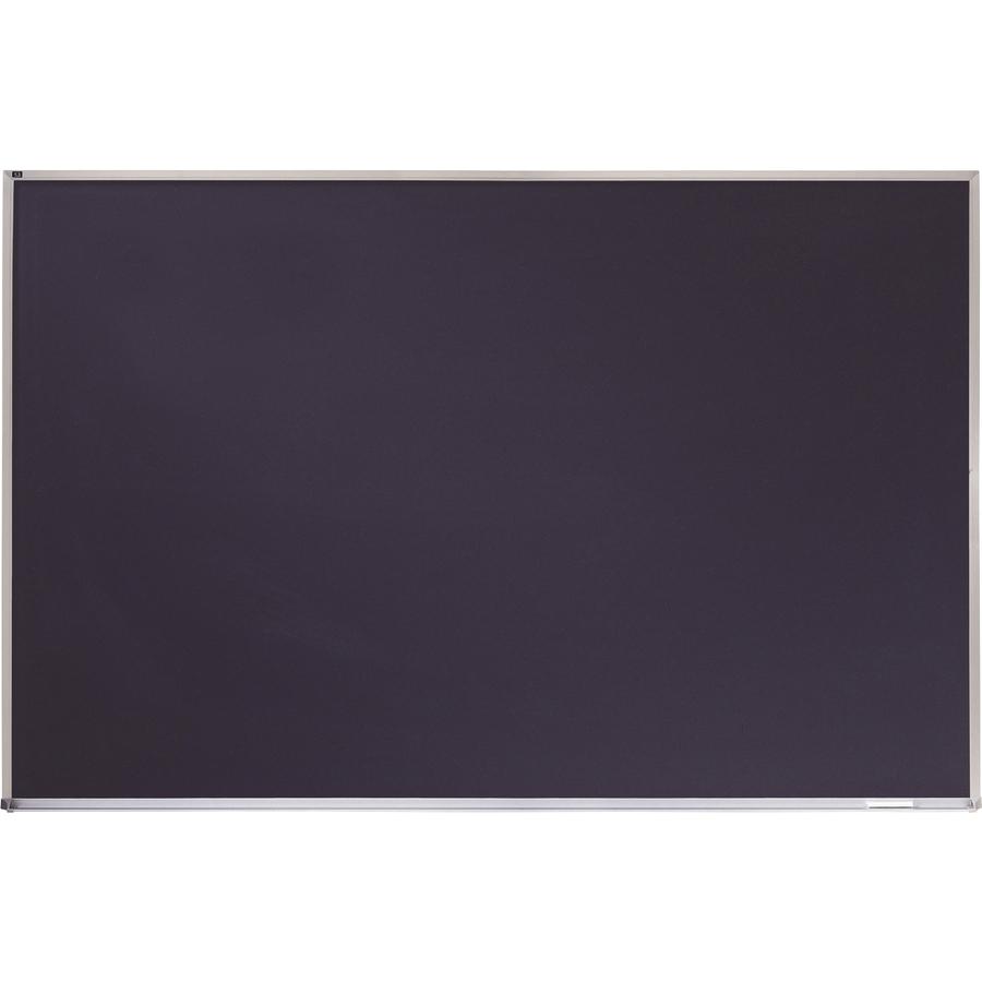 Acco Brands Corporation Quartet® Porcelain Black Chalkboard, Magnetic, 4 X 6, Aluminum Frame - 48 (4 Ft) Width X 72 (6 Ft) Height - Black Porcelain Surface - Silver Aluminum Frame - Horizontal - 1 / Each