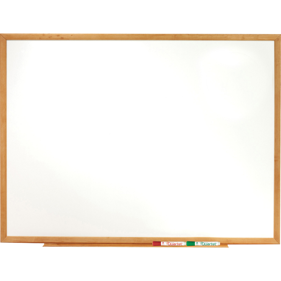 Acco Brands Corporation Quartet® Classic Whiteboard - 72 (6 Ft) Width X 48 (4 Ft) Height - White Melamine Surface - Oak Frame - Horizontal/vertical - 1 Each - Taa Compliant