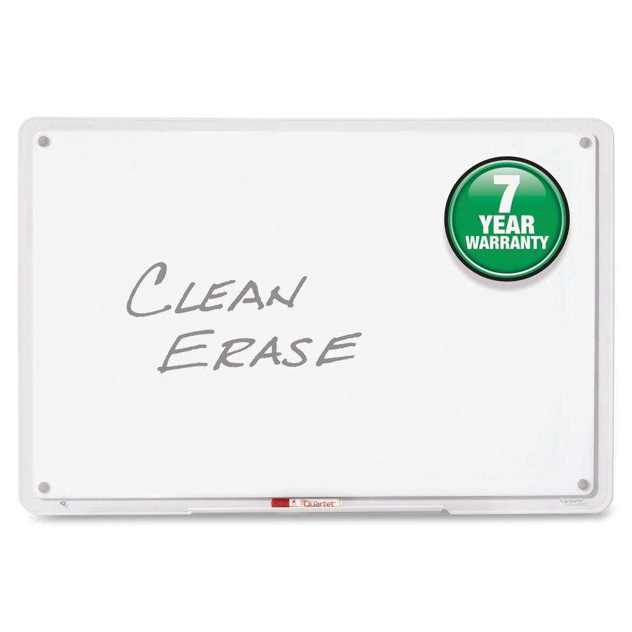 Acco Brands Corporation Quartet® Iq Total Erase® Whiteboard - 11 (0.9 Ft) Width X 6.8 (0.6 Ft) Height - White Surface - Clear, Translucent Frame - Horizontal/vertical - 1 / Each