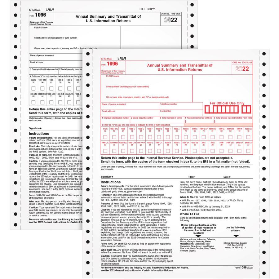 TOPS 1096 Tax Form - Kopy Kat Office