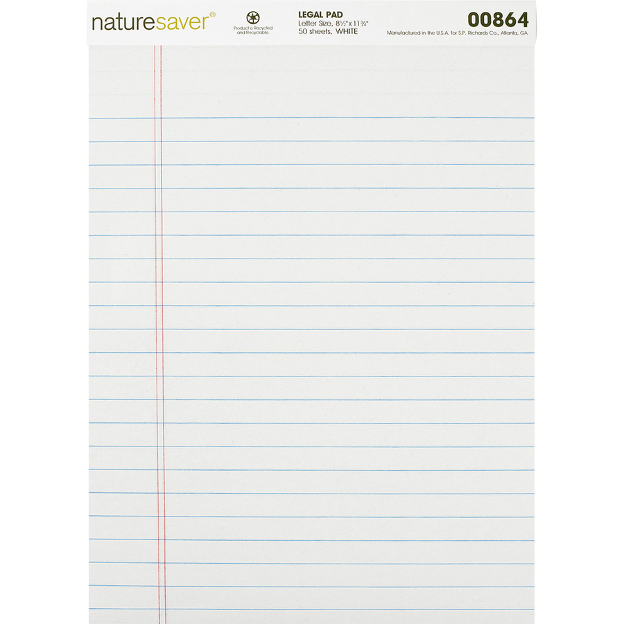 nature saver recycled legal ruled pads mac papers inc