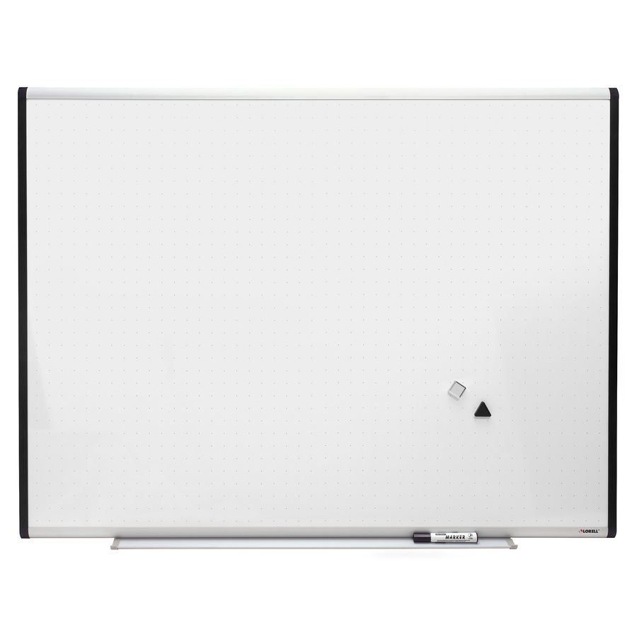 Lorell Magnetic Dry-erase Grid Lines Marker Board - 48 (4 Ft) Width X 36 (3 Ft) Height - Porcelain Surface - Silver, Ebony Frame - 1 / Each