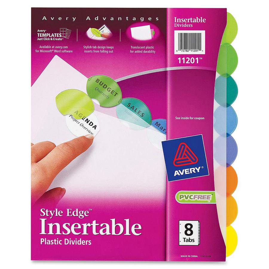 Avery style edge plastic insertable dividers servmart original saigontimesfo