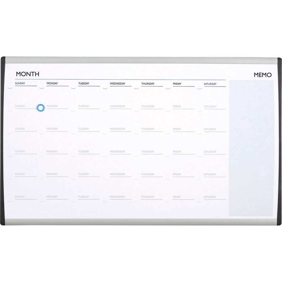 Acco Brands Corporation Quartet® Arc Cubicle Whiteboard Calendar - 18 Height X 30 Width - White Natural Cork Surface - Silver Aluminum Frame - 1 Each