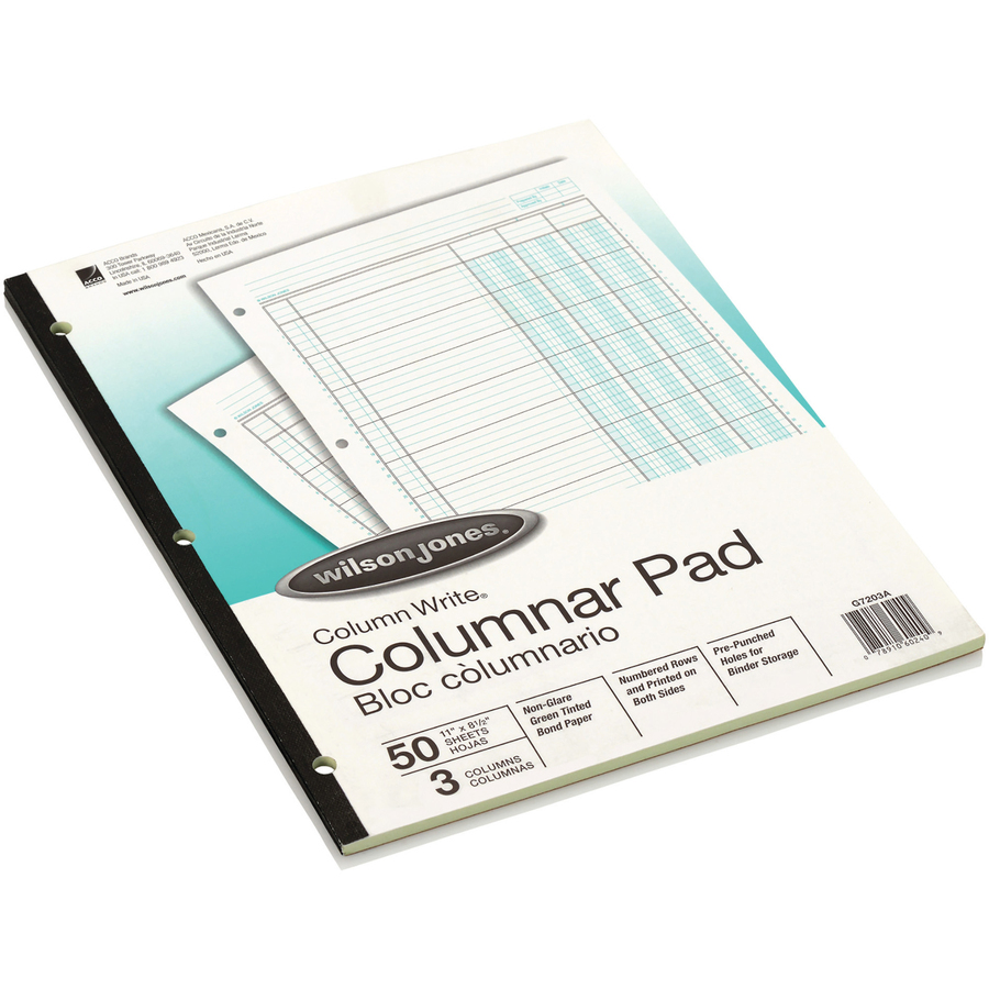 "wilson jones® column write® pads, 8 1/2"" x 11"", 41 lines, 3 columns"