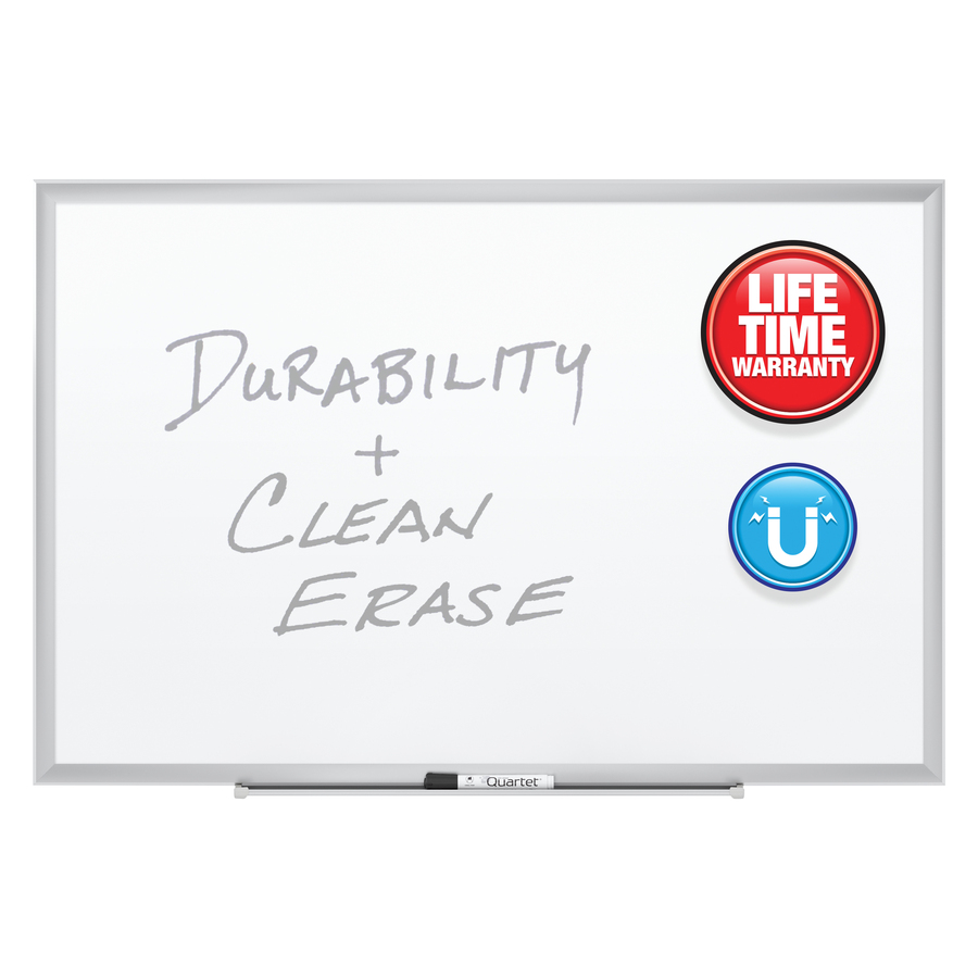Acco Brands Corporation Quartet® Premium Duramax® Porcelain Magnetic Whiteboard, 5 X 3, Silver Aluminum Frame - 60 (5 Ft) Width X 36 (3 Ft) Height - White Porcelain Surface - Silver Aluminum Frame - Rectangle - Horizontal/vertical - 1 / Each - Taa