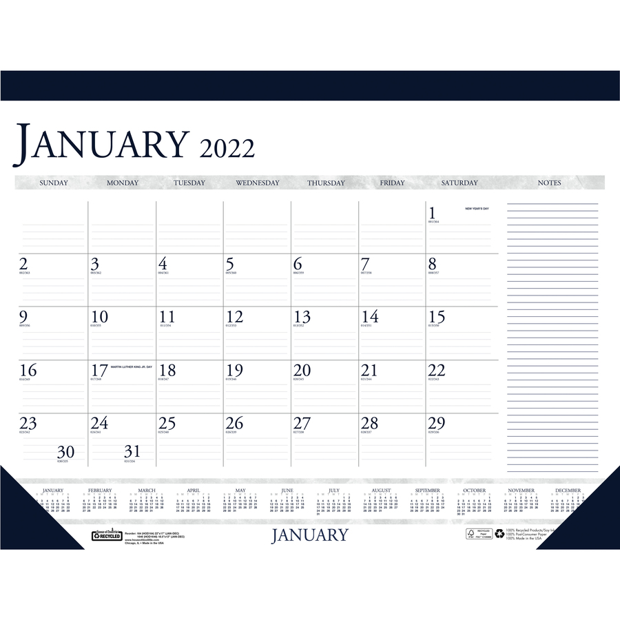 HOD164 - House of Doolittle Blue/Gray Print Monthly Desk Pad - Great Office Buys