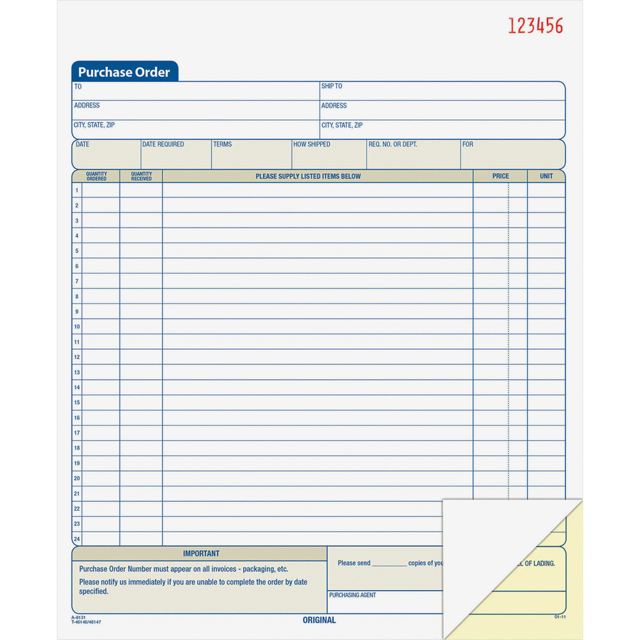 Adams dc8131 adams purchase order form abfdc8131 abf dc8131 office supply hut - How to save money when purchasing office supplies ...
