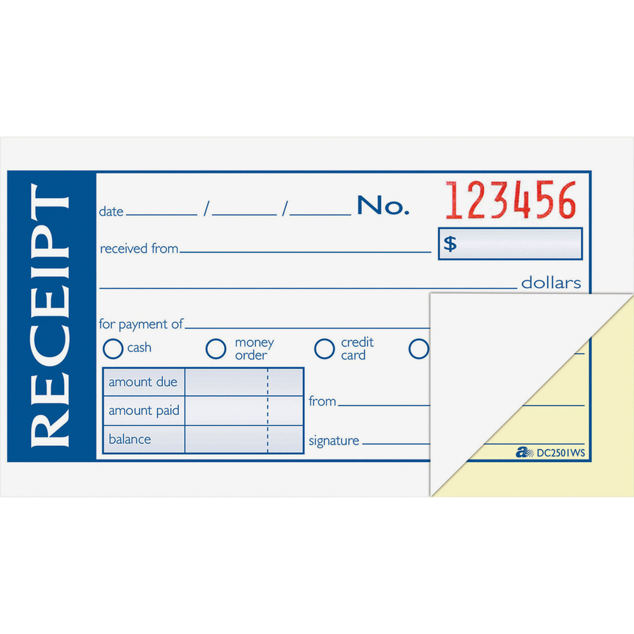 adams write n stick money rent receipt book mac papers inc original
