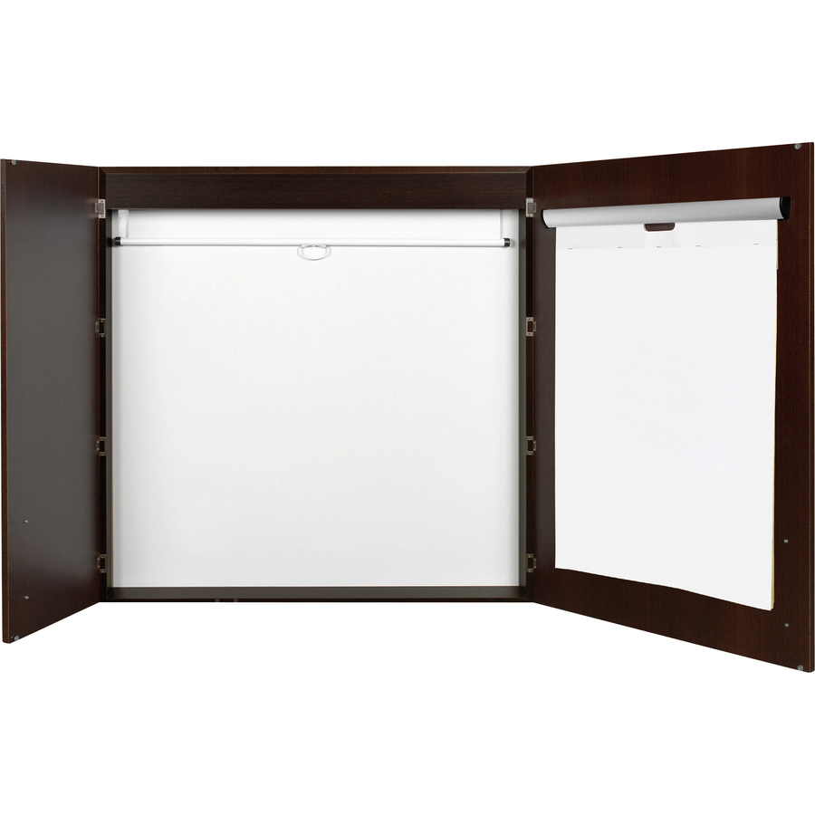 Bi-silque S.a Mastervision 2-door Ebony Conference Cabinet - 48 Height X 48 Width - Porcelain Steel Surface - Pad Holder - Ebony Wood Frame - 1 Each